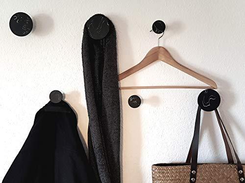 Libaro Wandhaken schwarz marmoriert 6er Set, 3 kleine und 3 große Kleiderhaken, runde dekorative Garderobenhaken