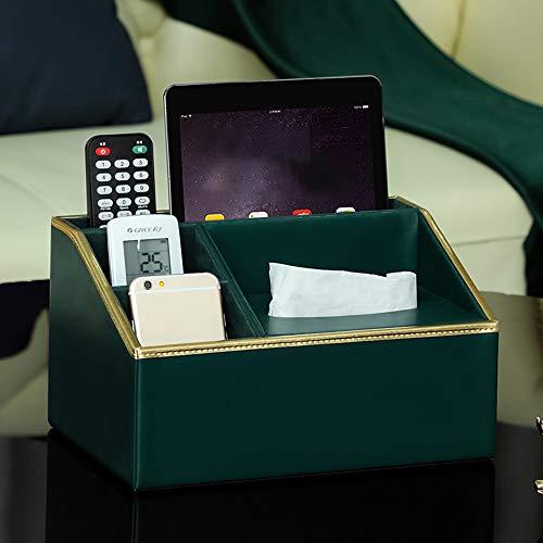 Guoz Organizador de Escritorio de Cuero Caja de Almacenamiento de Control Remoto Caja de Almacenamiento de papelería de Escritorio Organizador de Escritorio Organizador Soporte de Control Remoto