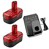 2Pack 6.0Ah Replacement for Craftsman 19.2 Volt C3 Lithium Battery + Craftsman 19.2V Battery Charger for 9.6V-19.2V Ni-Cd Ni-Mh Lithium-ion Battery 130279005 1323903 130211004