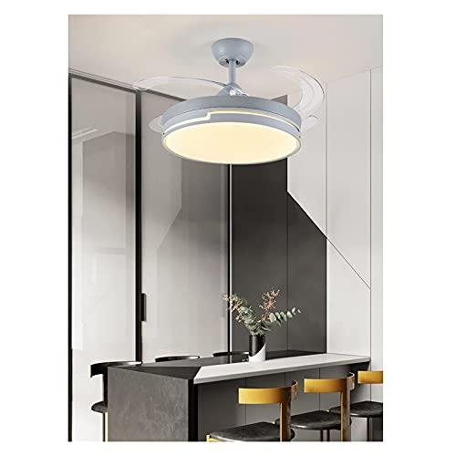 WEM Lámpara de araña led, luz de ventilador invisible, luz de hogar, luz de ventilador de techo de lujo, comedor, sala de estar, moderno y simple,gris