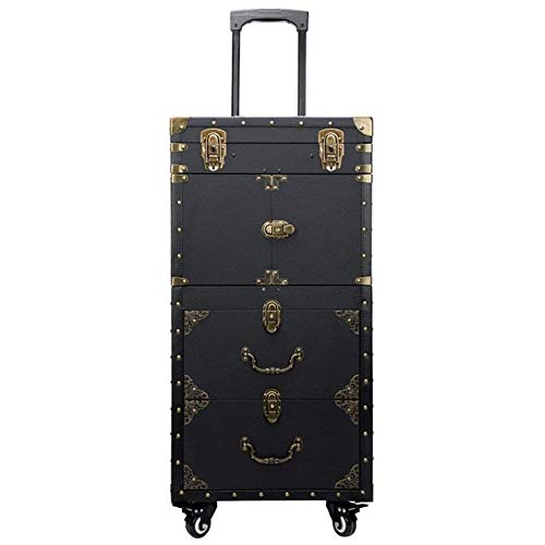 NACHEN Women Trolley Cosmetic Case Rolling Luggage Bag,Stylish Retro Beauty Tattoo Trolley Suitcase,Nails Makeup Universal Wheel Toolbox