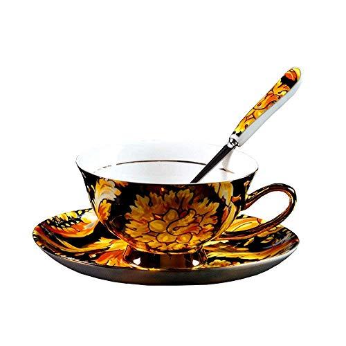 YBK Tech Euro Style Cup& Saucer Set Bone China Porcelain Tea Coffee Cup Breakfast Home Kitchen (Phoenix Feather)