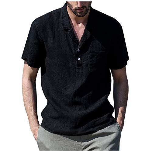 Herren Leinenshirt Tshirts Sommer Baggy Baumwolle Leinen Einfarbig Kurzarm T Shirts Tops Mode Freizeit Hemden