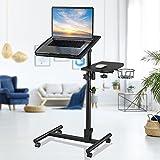 Bed Laptop Desk Classics Height Adjustable, Overbed Bedside Mobile Laptop Table Cart Ergonomic Rolling Desk, Tilt with Side (L27.9-W13.8) with Cup Holder Mouse Pad, Matte Black