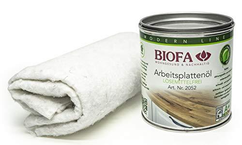 Eco-Werk Set | Biofa Arbeitsplattenöl 2052 | 0,375 Liter | Set mit 2 Ölsaugtüchern | NEU