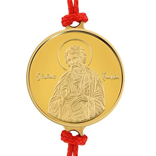 Pulsera artesanal de hilo rojo con delicada medalla de oro 18 Ktes religiosa San Andrés el Apóstol 0.06 oz. Talla única con Sistema de Nudo corredizo.