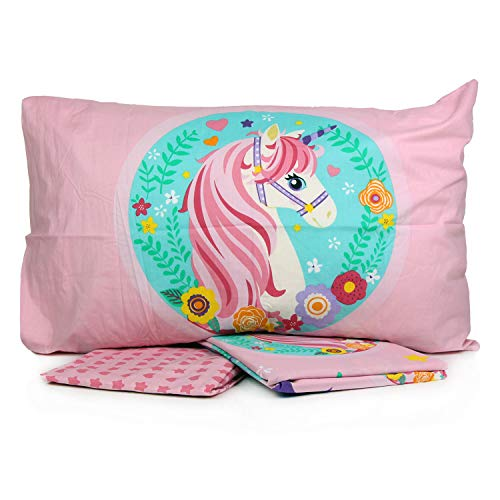 Unicorn - Juego de sábanas para cama individual de 1 plaza, de algodón superior, bajera y funda de almohada.