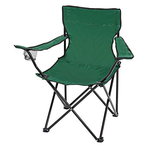 Parkland Set of 2 Lightweight Folding Camp Chair - Portable Chairs with Cup Holder and Bag Perfect for Camping, Festivals, Garden, Caravan Trips, Fishing, Beach and BBQs (Green)