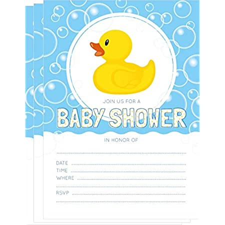 PINK RUBBER DUCKY 24 Personalized Baby Shower Advice Cards