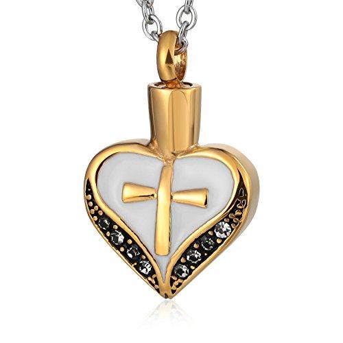 Anyeda Oro Collar de Cuero para Hombre Cruz en Forma de Corazón Grabable Colgante Triskel