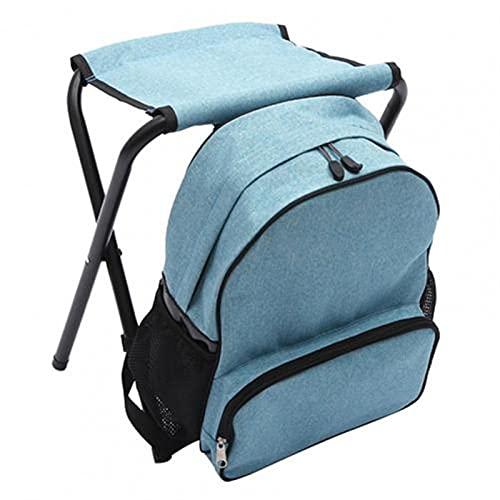 Camping Pesca Silla Plegable Silla Mochila Heces Senderismo Asiento Bolsa Saco Picnic Bag Portable Outdoor Ocio Pequeño Caballo Taburete (Color : Baby Blue)