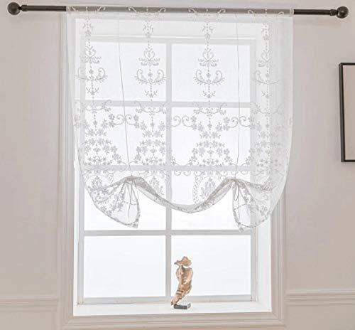 Lactraum Raffrollo Raffgardine Küche Weiß Tranparent Bestickt Vintage Klassische Voile 115 x 120 cm(B x H)