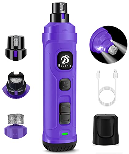 BOUSNIC Dog Nail Grinder with 2 LED Light - Super Quiet Pet Nail Grinder Powerful 2-Speed Electric Dog Nail Trimmer File Toenail Grinder for Puppy Small Medium Large Breed Dogs & Cats (Purple)