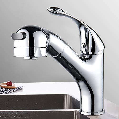 Grifo de Cocina Extraíble 360 ° Giratorio Grifo Fregadero con 2 Modos Ajustable Grifo para Lavabo Baño Universal Agua Fría y Caliente (Extraíble)