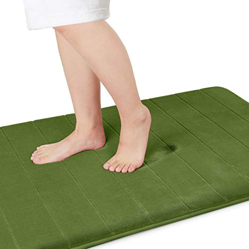 Yimobra Memory Foam Bath Mat Large Size, 44.1 x 24 Inches,Soft and Comfortable, Super Water Absorption, Non-Slip, Thick, Machine Wash, Easier to Dry for Bathroom Floor Rug, Olive Green