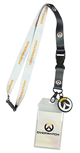Bioworld Overwatch Logo Lanyard with Rubber Charm, Clear ID Holder, and Collectible Sticker
