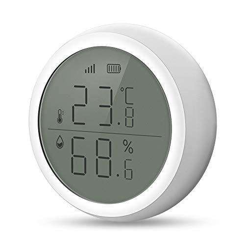 eMylo Smart Termómetro inalámbrico ZigBee Higrómetro ZigBee Sensor digital de temperatura y humedad Monitor Termohigrómetro inalámbrico con función de dato de alerta para el hogar/habitación d
