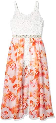 Speechless Girls' Walk-Through Romper Maxi Party Dress, Orange Floral, 12