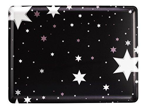 PLATEX 104030228S Plateau en stratifié Moyen Modèle décor Milky, Fond Noir