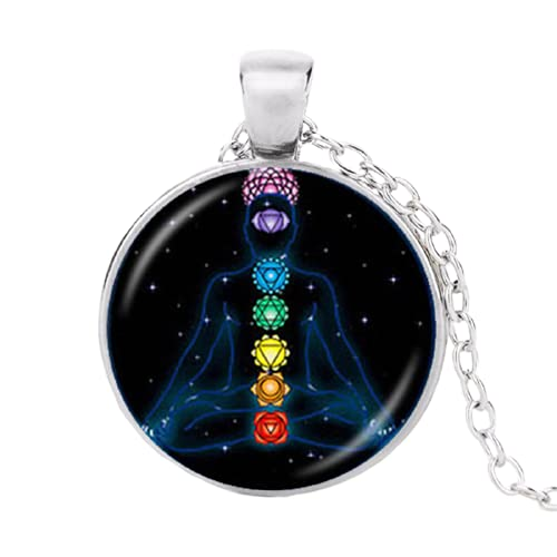 7 Chakra Reiki Collar de curación de Buda Yoga Meditación Colgante Espiritual Om Símbolo Esperanza Joyería Cadena Declaración Collar
