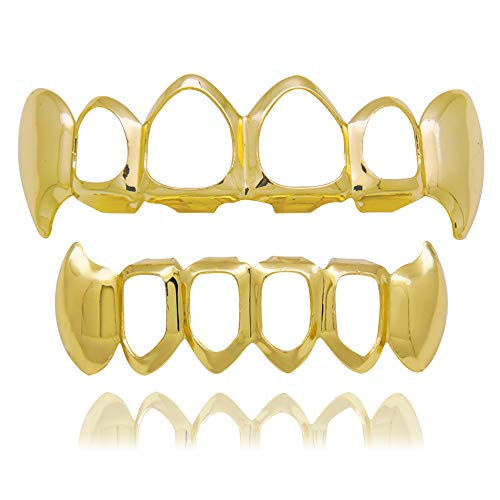 LuReen 14k Gold Teeth Grillz Open Face Outline 6 Teeth Vampire Fangs Grillz + Extra 2 Molding Bars