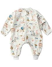 Bebé Saco de Dormir Algodón Niños Niñas Bolsa de Dormir con Piernas 1.5 Tog Mameluco Desmontable Manga Larga Algodón Primavera Verano Pijamas