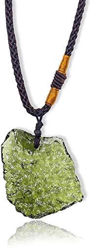 Collar MoldAvita Forma Irregular Moldavita Colgante Moldevito Natural Collar de Cristal Real Otoño Cristal de Cristal áspero Energía Joyería para Hombres /