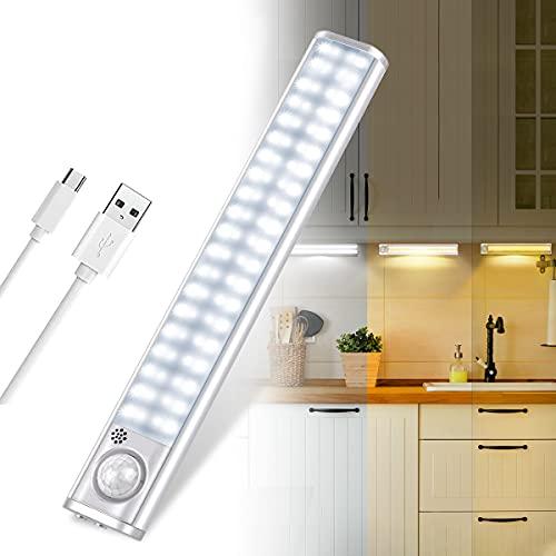 Lampada Armadio, Luce per Armadio 80 LED con Sensore Movimento, Batteria Ricaricabile, Luce LED con Striscia Magnetica Adesiva, per Armadio, Scale, Corridoi, Cucina, Garage (regolabili in 3 colori)