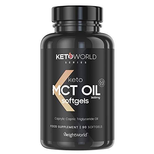 Keto Cápsulas de Aceite MCT Oil C8 - 3600 mg de Puro MCT Oil de Aceite de Coco, Refuerza la Cetosis, Dieta Keto, Suplemento Natural Vegano Quemagrasas, Para Adelgazar, Control Apetito, 90 Cápsulas