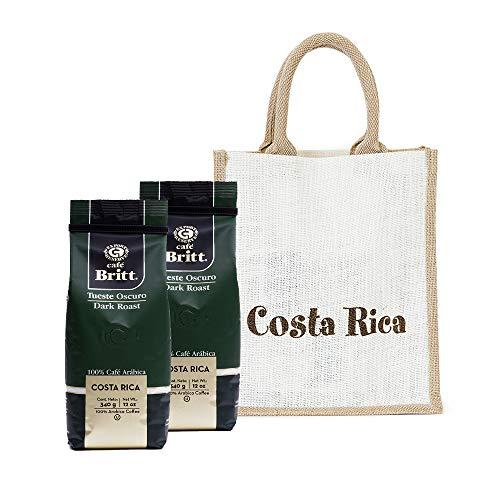 Café Britt - Costa Rican Dark Roast Gift Set (12 oz.) (2-Pack) With Gift Bag - Ground Arabica Coffee, Kosher, Gluten Free, 100% Gourmet & Dark Roast (1 Year Shelf-Life)