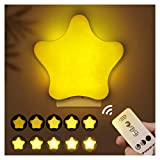 Star Remote Control Night Light for Kids, Energy Saving Beside Lamp with Timing Function (15/30/60Min) and Adjustable Brightness, LED Bedroom Light Lamps for Baby/Pregnant Women/Olders