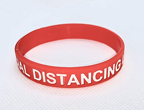 COVID Social Distancing Level Wristbands (Red - 4 Wristbands)