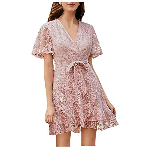 Why Should You Buy Coupondeal Women V-Neck Solid Color Short Sleeve Mini Dress Ladies Casual Lace Dr...