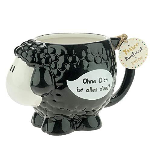 Die Geschenkewelt 46339 Figuren-Tasse sheepworld Schaf mit Spruch Ohne Dich ist alles doof, Dolomite, 50 cl