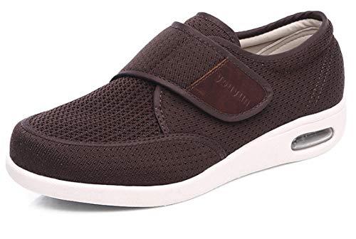 B/H Zapatilla DiabéTica Sin Cordones para Mujer,Zapatos Deportivos de Verano para Hombre, Zapatos con cojín de Aire Transpirable con Velcro-Amarillo Natural_45 🔥