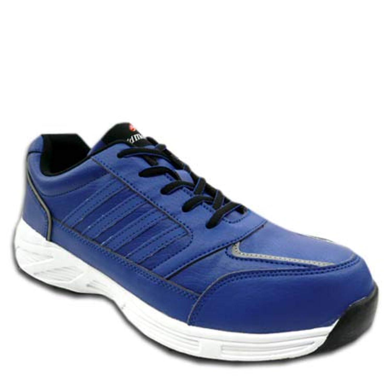 のれんアトラス感性安全靴 安全スニーカー Field Massage S8171 マジックタイプ 鉄製先芯 耐滑 セーフティシューズ 女性サイズ対応 ブルー 青