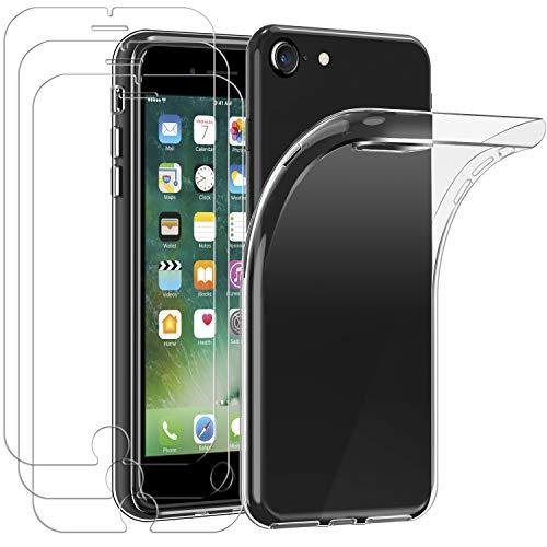 iVoler Custodia Cover per iPhone SE 2020 / iPhone SE 2 / iPhone 8 / iPhone 7 / 6S / 6 con 3 Pezzi Pellicola Vetro Temperato, Ultra Sottile Morbido TPU Trasparente Silicone Antiurto Protettiva Case
