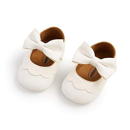 Voracale Scarpe da Principessa per Bambina Sandali da Bambina Chiusi Scarpine Battesimo Neonata Scarpe Bambina Elegante Scarpine Antiscivolo Neonato Scarpe Basse Casuali Scarpe (Bianco, 6-12 mesi)