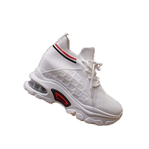 Zapatillas de Deporte para Mujer Tacón Oculto Lave-Up Zapatillas de Deporte Transpirables para Vestir Moda Primavera Verano Moda Zapatos Deportivos