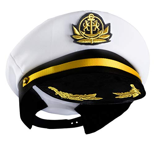 Yacht Captain Hat – Sailor Cap, Skipper Hat, Navy Marine Hat - Costume Accessories by Funny Party Hats