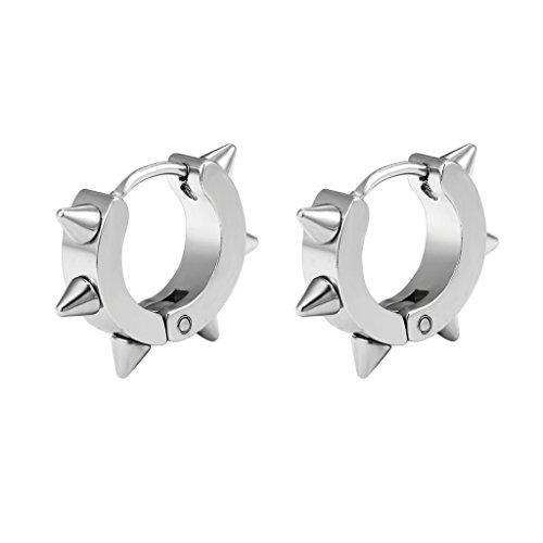 Stainless Steel Spike Earrings Earing For Men Man Cool Kpop Punk Edgy Hoops Aesthetic Jewelry Boys Emo Egirl Eboy Mens Earings Hoop Earrings