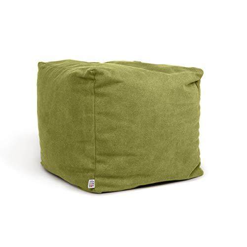 Arketicom Soft Cube Pouf Sacco Poggiapiedi Morbido Quadrato Sfoderabile Puff da Salotto 42x42 Verde Lime