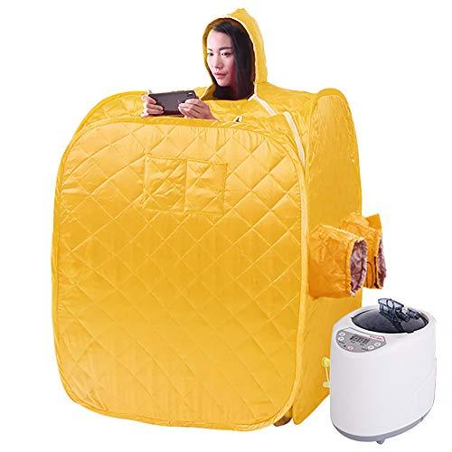 YJF-MRY Steam Sauna - Cabina De Sauna De Vapor Portátil Mini Sauna De Vapor De Cuerpo Completo Móvil, Cabina De Sauna Plegable Personal, SPA En Casa para Bajar De Peso con Control Remoto,Oro
