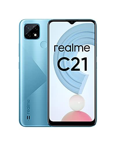 realme C21 Smartphone, Mega batteria da 5.000 mAh, Display mini-drop da 6,5 , Tripla fotocamera da 13 MP con AI, Potente processore Helio G35, Dual Sim, NFC, 4+64GB, Blu (Cross Blue)