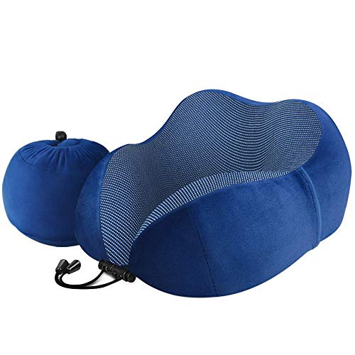 Almohada de viaje Luxsure Travel Pillow de algodón con forma de U, lavable a máquina, almohada cervical para avión, tren, coche, oficina y camping, 60d Royal Blue (Azul) - LU00000064-3