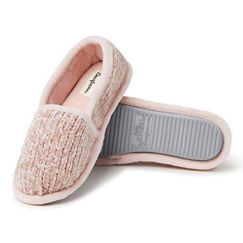 Dearfoams Women's Chenille A-Line Slipper, Dusty Pink, Large