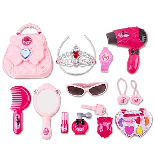 deAO `Meine erste Handtasche` Spielzeug Schönheitsset mit Make-up Tasche für kleine Prinzessinnen die Spass an Schmink- und Styling Rollenspiele haben