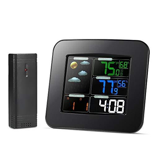 GOGR LCD Digital Entrada/Temperatura Exterior Humedad Barómetro Estación Meteorológica Inalámbrica Reloj Despertador En Color Medidor De Pronóstico del Tiempo Enchufe De La UE