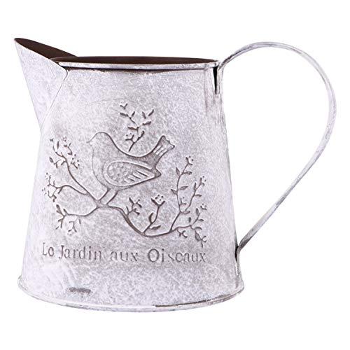 Hemoton 1 cesta de flores con forma de hervidor, soporte de hierro para plantas, elegante maceta, florero de metal para el hogar y el jardín