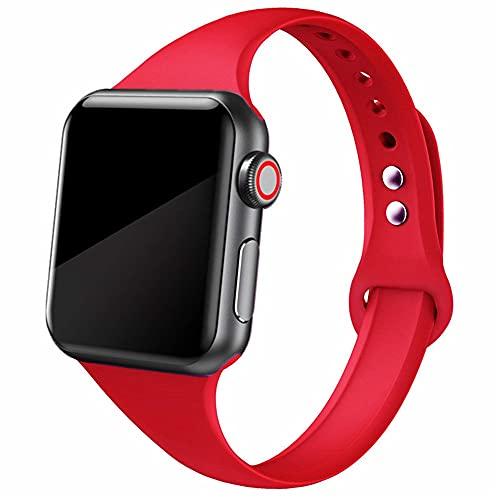 Ternzun Banda delgada para Apple Watch correa 38mm 44mm suave deporte silicona wrsit correa correa pulsera iWatch series 5 4 3 se 6 40mm 42mm banda (38mm o 40mm, China rojo 25)